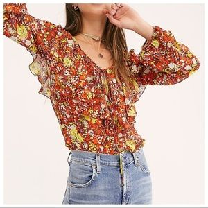 NWT Free People Say It To Me Bodysuit Blouse XS